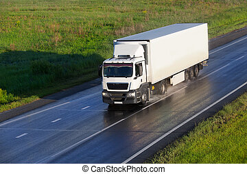 truck moves on highway