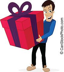 Big Present - Happy man holding big present/gift in his...