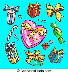 Big presents collection. Vector illustration of cartoon cute color gifts isolated on white background.