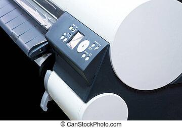 Detail shot of big plotter printer machine