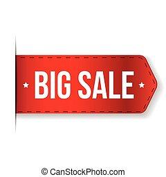 big, prodej, prapor, červené šaty lem