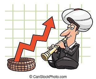 Illustration of the businessman playing the flute like Indian yogi to influence on profit