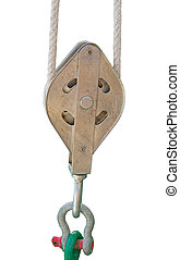 big Pulley and rope on white