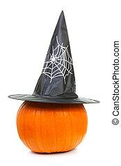 big pumpkin with witch hat