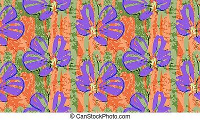 Big purple flower on green and orange grunge textured