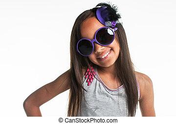 Big purple glasses.