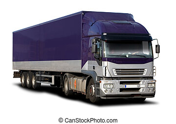 Purple Semi - Big Purple Semi Truck Isolated on White