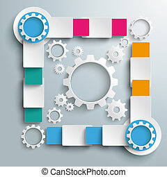 Big Quadrat White Gears Four Colored Batch Rectangles PiAd -...