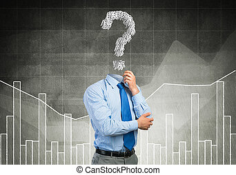 Big question in his head - Faceless pensive businessman with...