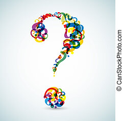 Big question mark made from smaller question marks (rainbow...