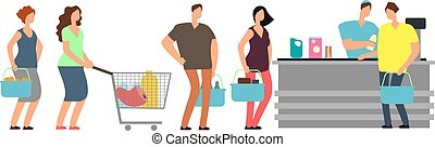 Big queue shopping people at cash desk with cashier in supermarket cartoon vector illustration