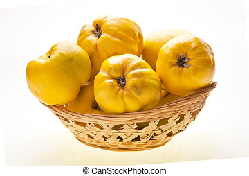 Big Quinces In Small Basket - Quinces pear in basket ...