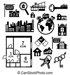 Big real estate icons set