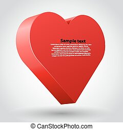 Big red 3d heart on white background.
