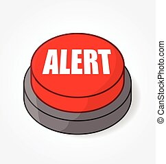 big red alert button light vector