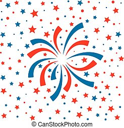 red and blue fireworks on white background