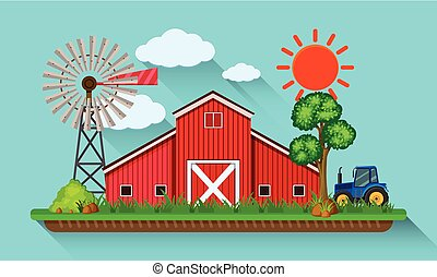 Big red barn and blue tractor