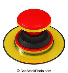 Big Red Button isolated on white background.