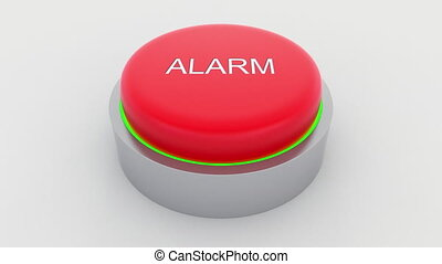 Big red button with alarm inscription being pushed.