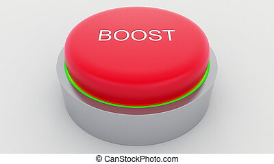 Big red button with boost inscription being pushed. Conceptual 3D rendering