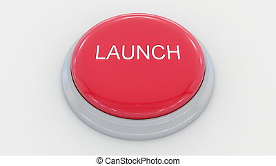 Big red button with launch inscription. Conceptual 3D rendering