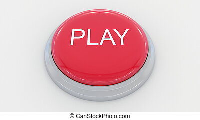 Big red button with play inscription. Conceptual 3D rendering