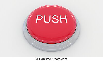 Big red button with push inscription. Conceptual 3D rendering