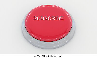 Big red button with subscribe inscription. Conceptual 3D rendering