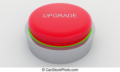 Big red button with upgrade inscription being pushed. Conceptual 3D rendering