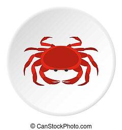Big red crab icon circle