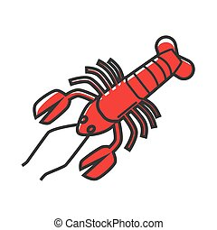 Big red delicious sea lobster isolated cartoon illustration