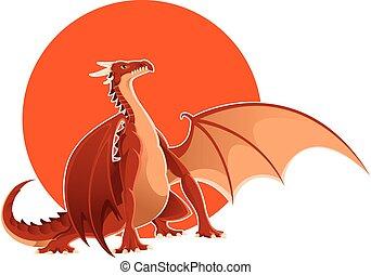Big red dragon - Vector image of a big red dragon