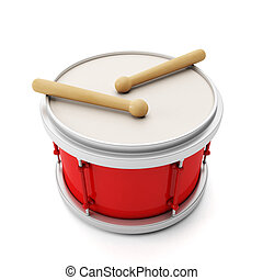 Big red drum music on a white background with chopsticks