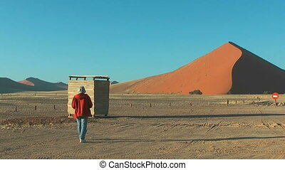 Big red dune at soussuvlei in namibian desert in the...