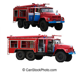 Big Red Fire Trucks Isolated on White.