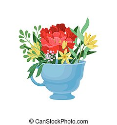 Big red flower in a mug. Vector illustration on white background.