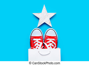 big red gumshoes in cool shopping bag and beautiful star shaped toy on the wonderful blue background
