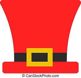 Big red hat, illustration, vector on white background.
