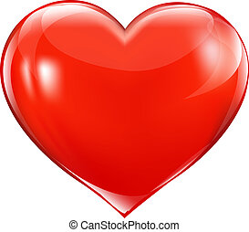 Big Red Heart, Isolated On White Background, Vector...