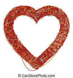 Big Red Heart Made of Fibre, Isolated On White Background, 3D Re