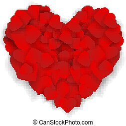 Big red heart made of small hearts isolated on white