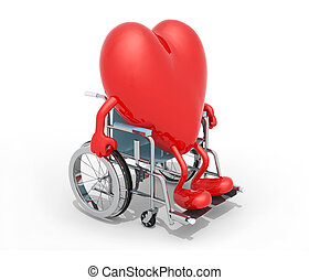 big red heart on a wheel chair - big red heart with arms and...