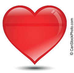 Big Red Heart on White Background