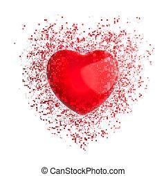 Big red heart - pixel explosion