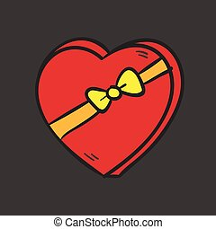 Big red heart with a bow on dark background