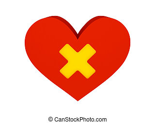 Big red heart with cross symbol.