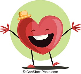c735179b Big red heart witha yellow hat laughing with arms wide open vector  illustrtation in light green