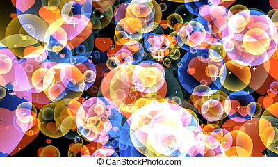 Big red hearts with gold and dark blue bubbles floating on black background