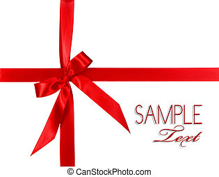 Big Red Holiday Bow Package on White Background With Copy Space