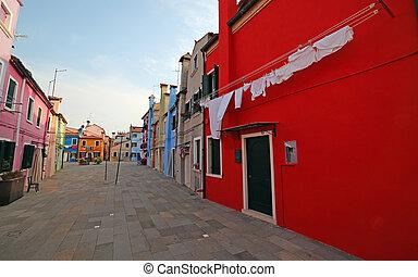 Big red house on the island of Burano near Venice